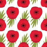 Remembrance Day, Seamless pattern with red poppies Royalty Free Stock Photos