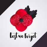 Remembrance Day vector card. Lest We forget message. Glitter Red Poppy flower - international symbol of peace. Vector Illustration EPS 10 file stock illustration