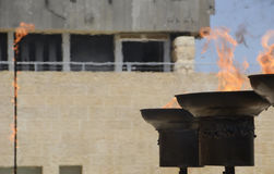 Remembrance Flames in Commemoration of the Victims of the Holocaust, Yom HaShoah Day Ceremony, 24 April 2017, Jerusalem, Israel. A view of three of the six Stock Photo
