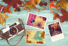 Remembrance and nostalgia in autumn. Photo album in remembrance and nostalgia in autumn & x28;fall season& x29; on wood table. instant photo of retro camera Stock Images