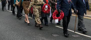 The Remembrance Parade on Remembrance Sunday 2016 in Wrexham Wales Royalty Free Stock Image
