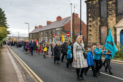 The Remembrance Parade on Remembrance Sunday 2016 in Wrexham Wales Stock Photos