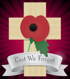 Remembrance Poppy on cross Royalty Free Stock Image