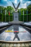 In remembrance for those who lost at Albany, New York. Albany, NY, USA - July 28, 2018: The World War II memorial stone marker royalty free stock image