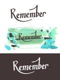 3 Rememner literowanie Zdjęcia Royalty Free