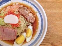 Remen,the cold noodle with shrimp in lemon soup Stock Photos