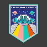 Remendo com UFO e estrangeiros para a cópia ilustração stock
