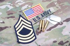 Remendo florescente de sargento mestre do EXÉRCITO DOS EUA, remendo da bandeira, com etiqueta de cão e 5 círculos de 56 milímetro Fotos de Stock Royalty Free