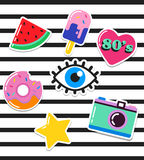 Remendos chiques, pinos, crachás e etiquetas da forma do pop art Foto de Stock