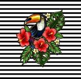 Remendos do bordado do tucano com flores e as folhas tropicais Fotografia de Stock