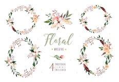 Remettez à aquarelle de boho d'isolement par dessin l'illustration florale avec des feuilles, branches, fleurs Art de Bohème de v Photos stock