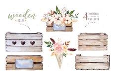 Remettez à aquarelle de boho d'isolement par dessin l'illustration florale avec des feuilles, branches, fleurs, boîte en bois Ver Photographie stock