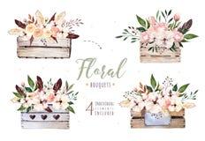 Remettez à aquarelle de boho d'isolement par dessin l'illustration florale avec des feuilles, branches, fleurs, boîte en bois Ver Photo libre de droits
