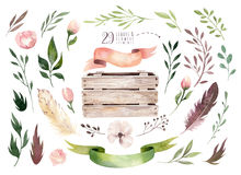 Remettez à aquarelle de boho d'isolement par dessin l'illustration florale avec des feuilles, branches, fleurs, boîte en bois Ver Photos stock