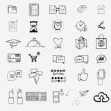 Remettez à aspiration les griffonnages sociaux de signe et de symbole de media Photos libres de droits