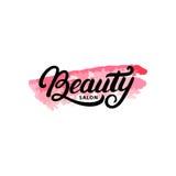 Remettez écrit la lettre du logo, du label, de l'insigne ou de l'emblème de salon de beauté Images libres de droits