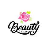 Remettez écrit la lettre du logo, du label, de l'insigne ou de l'emblème de salon de beauté Photos stock