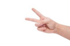 Remettez afficher le signe de la victoire et de la paix Photo stock
