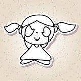 Remettez aux personnes abstraites de dessin la méditation heureuse de bonheur d'enfant Photos libres de droits