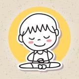 Remettez aux personnes abstraites de dessin la méditation heureuse de bonheur d'enfant Photos stock