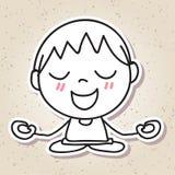 Remettez aux personnes abstraites de dessin la méditation heureuse de bonheur d'enfant concentrée Photos stock