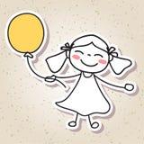 Remettez aux personnes abstraites de dessin le concept heureux de bonheur d'enfant illustration stock
