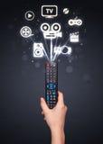 Remettez avec les icônes à télécommande et de media Photo stock