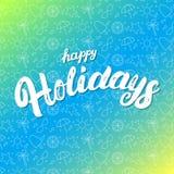 Remettez bonnes fêtes le lettrage écrit sur le fond sans couture de modèle d'été Images stock