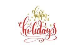 Remettez bonnes fêtes le rouge de vacances de lettrage et l'inscription d'or illustration libre de droits