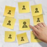 Remettez choisir l'icône de personnes sur la note collante avec le papier chiffonné Photo stock