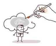Remettez dessiner un nuage pollué sur un homme de bande dessinée illustration stock
