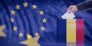 Remettez insérer une enveloppe dans une urne de drapeau de la Roumanie sur le fond de drapeau d'Union européenne illustration 3D illustration de vecteur