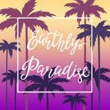 Remettez l'affiche de lettrage avec le paradis terrestre d'inscription illustration stock