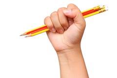remettez l'art de crayon de prise sur l'idée blanche de concept de fond Photo libre de droits