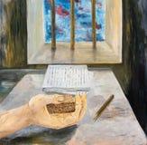 Remettez l'auteur discordant avec un morceau de pain Photo libre de droits