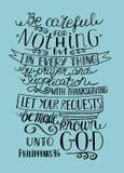 Remettez l'inscription à ne pas être soucieuse au sujet de n'importe quoi, mais laissez vos demandes à Dieu illustration libre de droits