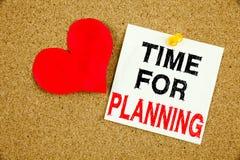Remettez l'inspiration de légende des textes d'écriture montrant l'heure pour le temps de planification d'affaires d'amour de sig Photo libre de droits