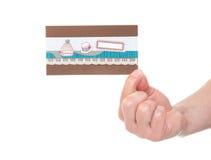 Remettez la carte d'invitation d'anniversaire de prise avec l'espace vide Photo libre de droits