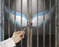 Remettez la clé de prise ouvrant la porte verrouillée avec les ailes bleues et blanches dedans Photos stock