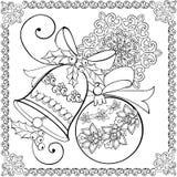 Remettez la cloche de Noël de dessin, la boule de Noël et le flocon de neige pour l'anti page de coloration d'effort illustration de vecteur