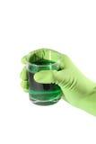 Remettez la glace de fixation avec le liquide dans le gant en caoutchouc Photographie stock libre de droits