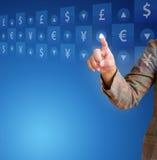 Remettez la poussée sur un écran tactile d'argent de bouton Photo stock