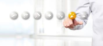 Remettez la poussée sur une icône de symbole de maçonnerie d'interface d'écran tactile, nous Photographie stock libre de droits