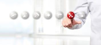 Remettez la poussée sur une icône de symbole de réparation d'interface d'écran tactile, Web Image stock