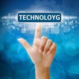 Remettez la presse sur le bouton de TECHNOLOYG images libres de droits