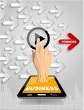 Remettez le bouton marche de poussée sur l'écran tactile au vide couru Illustration Libre de Droits