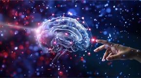 Remettez le cerveau et la connexion réseau émouvants sur le scintillement illustration stock