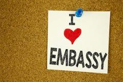Remettez le concept d'ambassade d'amour de l'apparence I d'inspiration de légende des textes d'écriture signifiant aimer d'applic Photos libres de droits