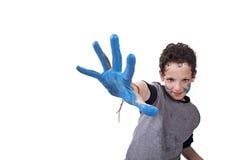 Remettez le conseil du bleu, avec le gosse brouillé Images stock