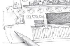 Remettez le croquis intérieur de dessin de l'unité de mur avec le crayon Images stock